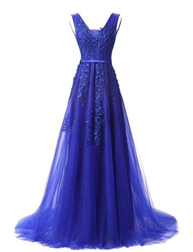 jydress de la mujer cuello en V apliques de tul largo vestido de noche sin espalda Formal Prom Fiesta Azul Royal