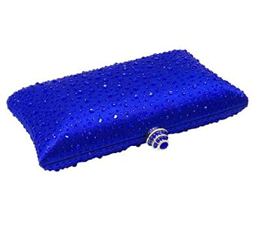 Señora Color Sólido Paquete Del Diamante Bolso De Tarde Bolso Caliente Del Taladro Novia Boda Dama De Honor Bolso Muchacha Bolso Del Mensajero Blue