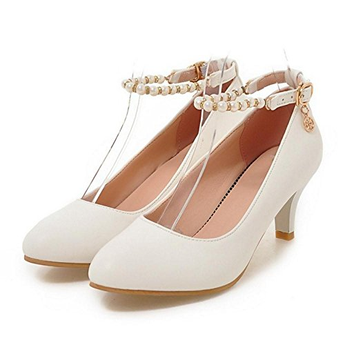 Office Dress Fashion Shoes White Pumps Women Shoes Mid TAOFFEN Ankle Strap Heel Basic 4z8z6p