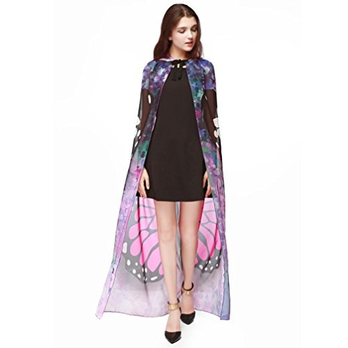 WINWINTOM Halloween Mujeres Chicas Novedad Chiffon Wing Poncho Shawl Wrap Impreso Butterfly Peacock Cape Rosado