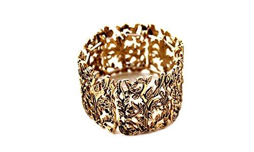 Global Huntress Retro Antique Gold Color Branches & Leaves Filigree Stretch Bracelet