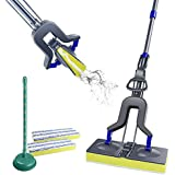 Masthome Sponge Mop With 2 Absorbent Sponge Heads,Branch Telescopic Extension Stainless Steel Pole,1 Toilet Plunger For Floor And Toilet Cleaning