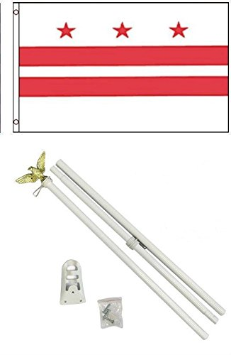 ALBATROS 3 ft x 5 ft Washington D.C. District of Columbia Flag White with Pole Kit Set for Home and Parades, Official Party, All Weather Indoors Outdoors -
