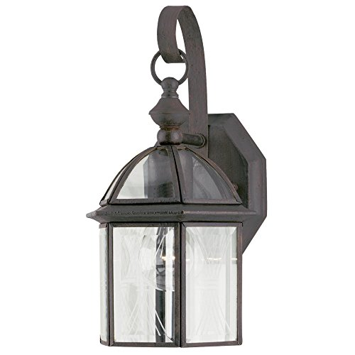 Westinghouse Lighting 6985600 One-Light Exterior Wall Lantern, Textured Rust Patina Finish on Solid Brass and Steel (Solid Fixtures Brass Westinghouse Outdoor)
