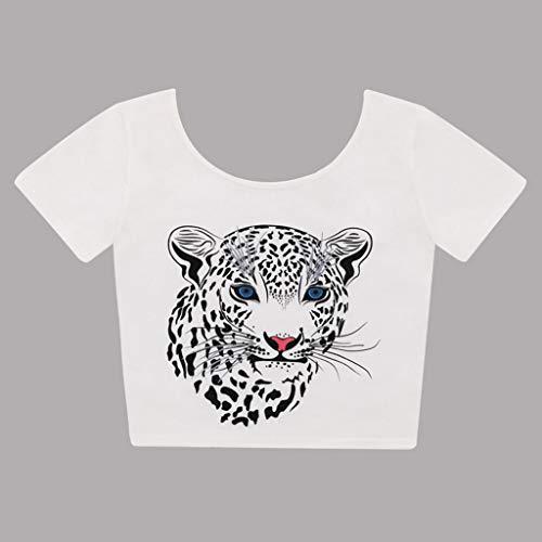 bianca shirt girocollo T camicetta Casual corta Casual manica Print Top Donna Bobolover PZpxaq
