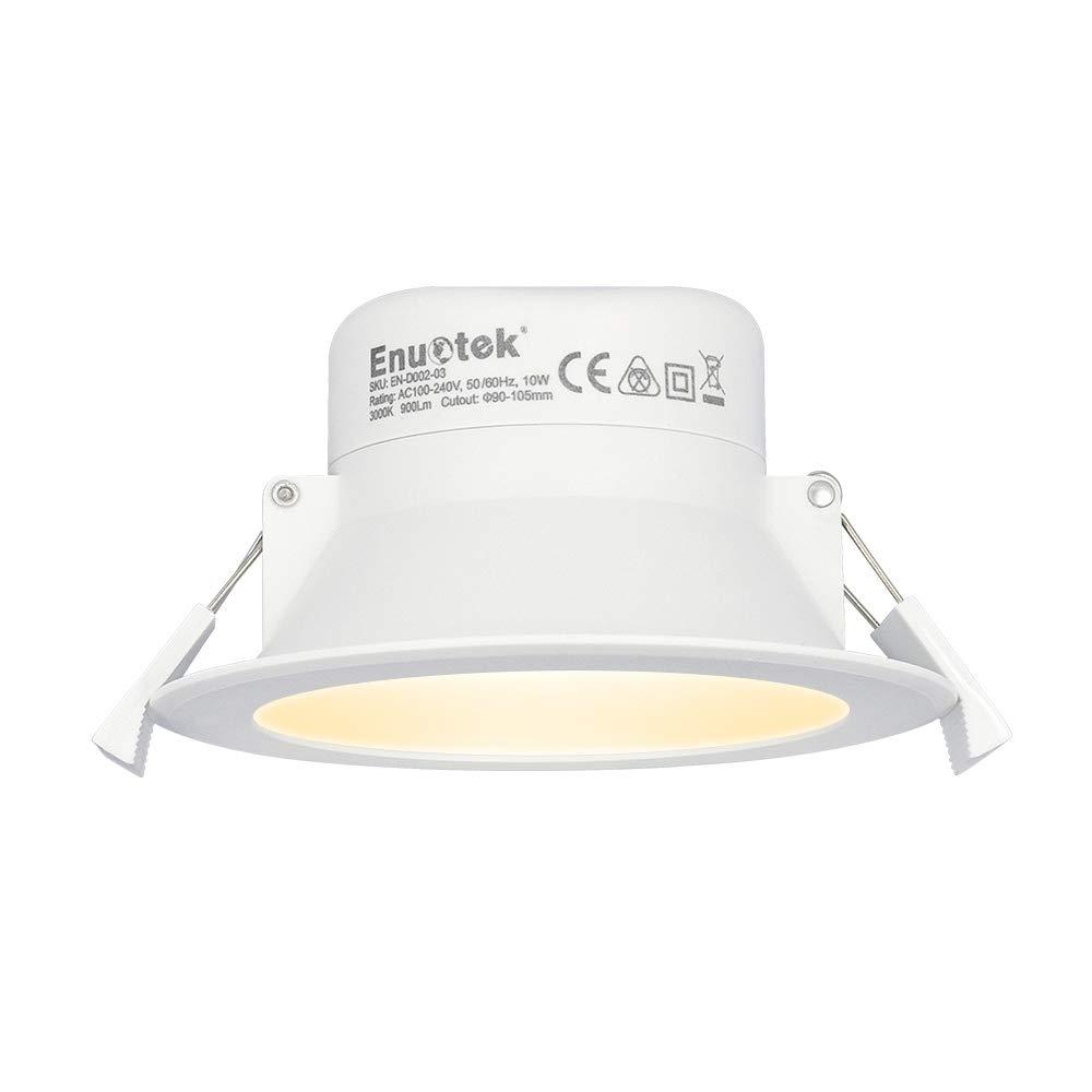 Lampada Plafoniera Faretti da Incasso a Soffitto a LED 10W Luce Calda 3000K Buco Φ90-105MM AC100~240V IP44 per Cucina Bagno Soggiorno Lot di 1 di Enuotek