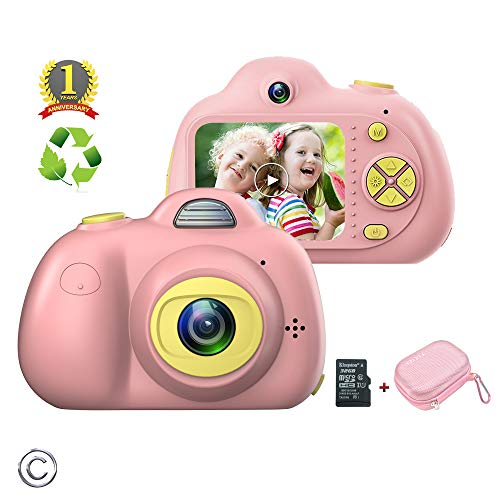 Feeyea Fourth Generation Digital Camera for Kids,with Carrying Case,Anti-drop Kids Camera with 8 Mega pixel Dual lens and Soft Silicone Shell,Great gift for 4-8Year Old Girl Pink(32GB TFcard included)