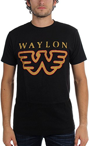 (King's Road Waylon Jennings- Flying W T-Shirt Size L, Black)