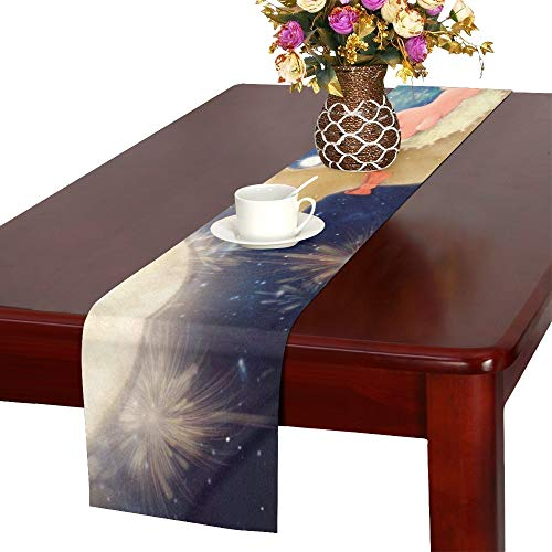 XINGCHENSS Full Moon Christmas Santa Claus Elk Table Runner, Kitchen Dining Table Runner 16 X 72 Inch for Dinner Parties, Events, - Santa Quilting Fe