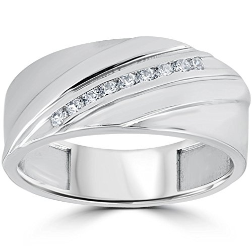 (1/6CT Mens Diamond Ring 10K White Gold - Size 10)