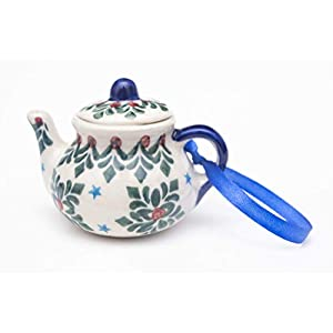 Manufaktura W Boleslawiec Polish Pottery Hand-Painted Teapot Ornament Blue Stars
