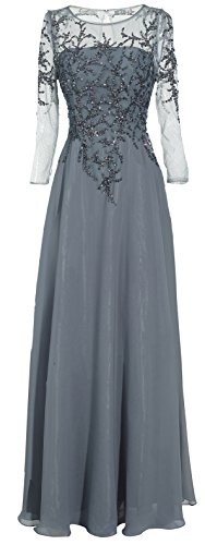 Meier Women's Starlit Beaded Long Sleeve Mother of The Bride Evening Gown (Plus Size W16, Grey)