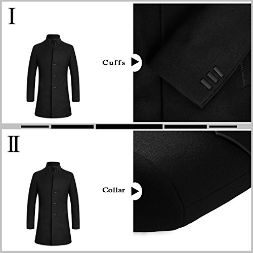 APTRO Men's Wool Coat Slim Fit Business Overcoat FD01 Black L by APTRO (Image #2)