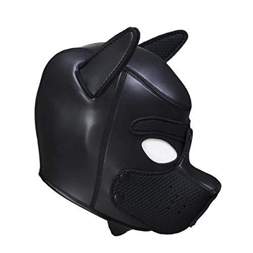Dog Leather Latex Mask Breathing Mask Unisex Leather Hood Mask Spandex -