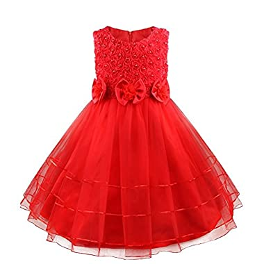 TIAOBU Girls Sleeveless Beading Princess Wedding Party Pageant Flower Dress Red 5-6