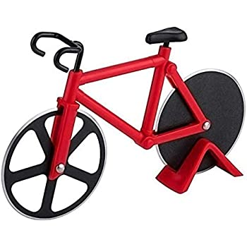 Bicycle Pizza Cutter Wheel Non-Stick Cutting Wheel Dual Stainless Steel best for Holiday Vacation Housewarming Cool Kitchen Gadget Gift with Stand (Red)