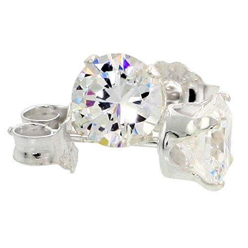 925 Sterling Silver CZ Cubic Zirconia Stud Earrings Brilliant Cut 3MM-10MM (5MM 1 (Zirconia Brilliant Earring)