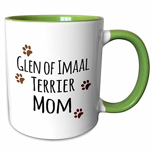 3dRose InspirationzStore Pet designs - Glen of Imaal Terrier Dog Mom - Doggie by breed - brown paw prints doggy lover pet owner mama love - 11oz Two-Tone Green Mug (mug_154125_7)