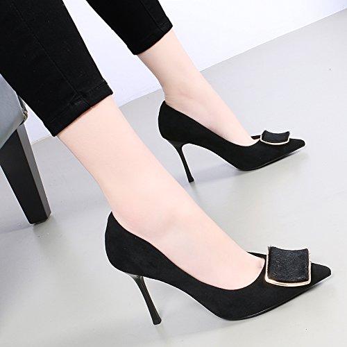 KHSKX-Una Nueva Primavera Hebilla Tacon Alto De 9Cm Zapatos Zapatos De Moda Todo El Partido Bien Documental Zapatos Negros black