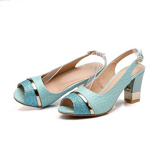 AmoonyFashion Womens Buckle PU Peep-Toe High-Heels Checkered Sandals Blue vj3v7gB