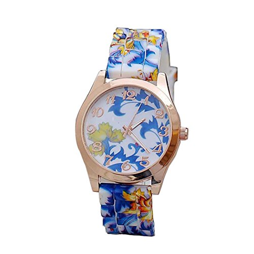 Womens Flower Watches,COOKI Unique Analog Fashion Clearance Lady Watches Female watches on Sale Casual Wrist Watches for Women,Round Dial Case Comfortable Silicone Watch-H17 (Blue)
