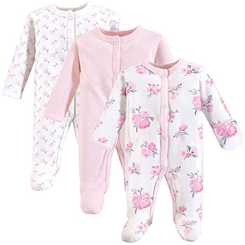 Hudson Baby Unisex Baby Cotton Preemie Sleep and Play, Basic Pink Floral, Preemie