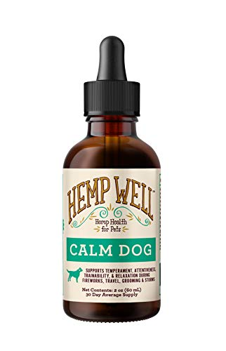 Hemp Well Calm Pet Oil for Dogs - Helps in Anxiety | Calms and Relaxes Your Pet | Aids in Stress Relief +Temperament and Behavioral Issues | Natural and Organic Relief Oil for Dogs (2 Ounce)