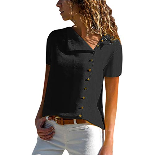 LUXISDE Womens Tops Womens Tops Short Sleeve Womens Casual Lapel Neck T-Shirt Ladies Short Sleeve Buckle Blouse Tops(Black,S)