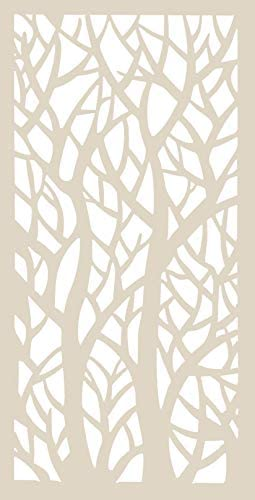 VIMA Twin Trees CNC Engraved Decorative Wall Panel 24 x 48 x 1 2 Made of Rigid PVC Board White Color