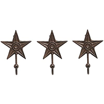 Set of 3 Wall Mounted Star Shaped Rustic Brown Cast Iron Coat Hooks / Hat, Scarf, Purse & Key Hangers