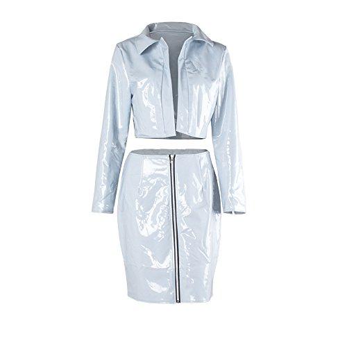 Yizenge Women's PU Leather Long Sleeve Crop Jacket + High Waist Midi Skirt Bodycon 2 Pcs Set Dress (M, (Womens Jacket Skirt)