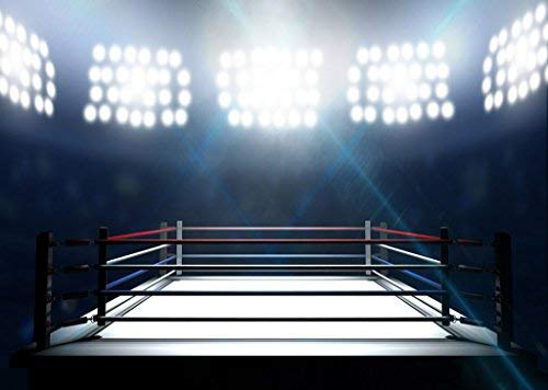 (RBabyPhoto 7X5FT Boxing Ring Backdrop Main Event Square Stage Bokeh Glitter Projector Lamp Interior Gymnasium Sports Match Photography Background for Men Adults Activity Photo Studio Props Vinyl)