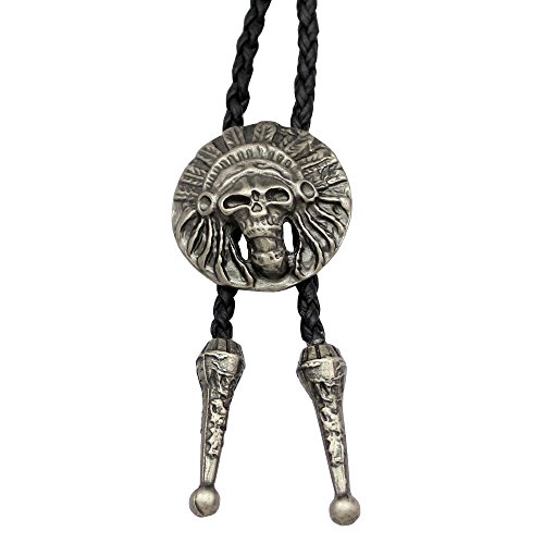[Silver Plated Q&Q Fashion Vintage Indian Chief Skull Leather Rodeo Western Costume Aztec Biker Bolo Tie] (Fashion Bloggers Halloween Costumes)