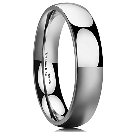 Gold High Polished Domed Ring (King Will BASIC 5MM Titanium Ring Domed High Polished Comfort Fit Wedding Band For Men Women 12.5)
