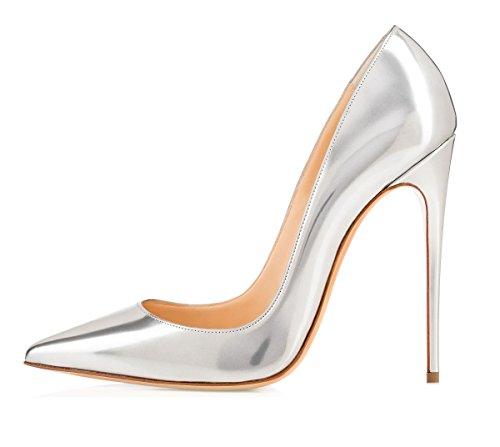 Escarpins Grande 120mm Talon Chaussures Femme Taille Heel Edefs High Argent Vernis Aiguille Sexy ZHdzSqX