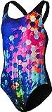 Speedo Girls' PopFlash Placement Digital Spashback Swimsuit, Blk/New Surf/Rose VIO, Size 30/ 12 years