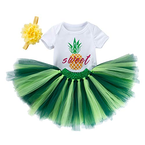 WINZIK Newborn Baby Girls Toddler Bodysuit Outfit Ruffle Romper Tutu Skirt PP Pants Birthday Party Costume with Headband (12-24 Months/Tag 80, Set of 3Pcs, Pineapple Tutu Set)]()