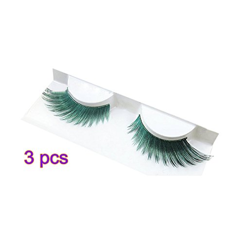 Newest trent 3 Pairs Real Long Thick Authentic 3D Painted Colorful Shiny False Eyelashes Makeup Tool for Cosplay Fancy Ball Halloween Party Show Stage (Green)