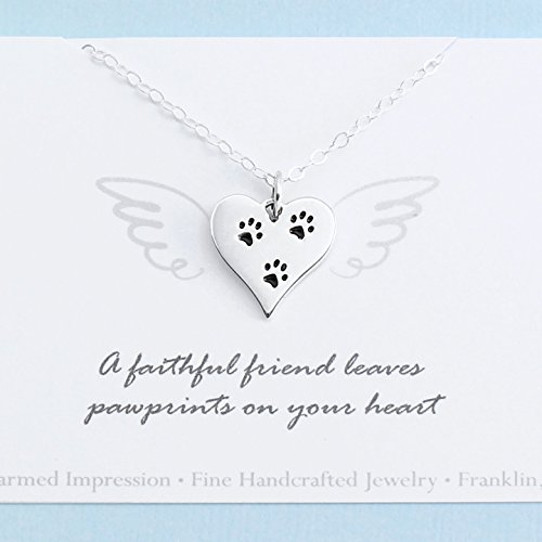 Pet Memorial Necklace • Sterling Silver • Heart Paw Print Charm • Dog Cat Loss • Personalized Sympathy (Tiny Tag Necklace)