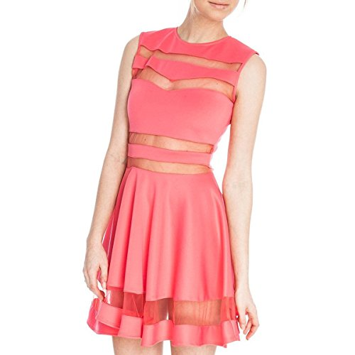 Kleid - SODIAL(R) Sommer reizvolle Gitter Ausschnitt herzfoermiger Ausschnitt aermellos Kleid rot S