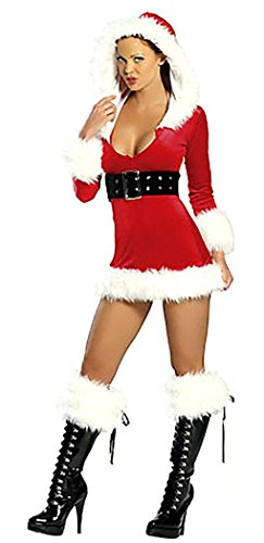 IF FEEL Womens 3 Piece Hooded Velvet Santa Dress Mrs. Claus Costume (one size, (Mr Grinch Costume)