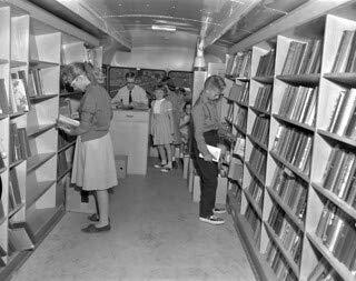 HistoricalFindings Photo: Patrons in The Edmonton Public Library Book Mobile, Alberta (Furniture Cheap In Edmonton)
