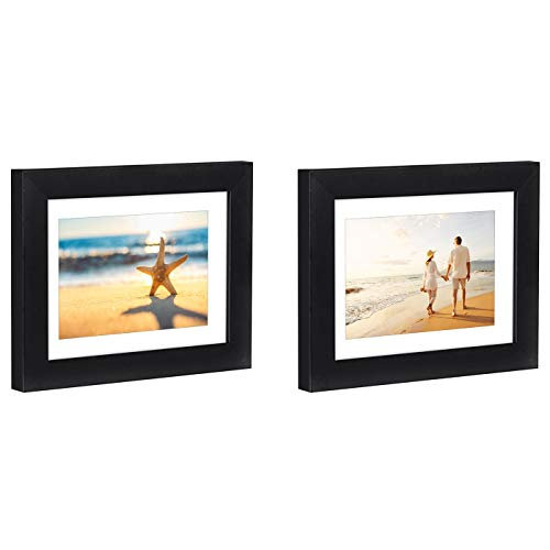 Americanflat 2 Pack - 5x7 Tabletop Frames - Display Pictures 4x6 with Mat - Display Pictures 5x7 Without Mat - Glass Fronts, Easel Stands, Ready to Display on -