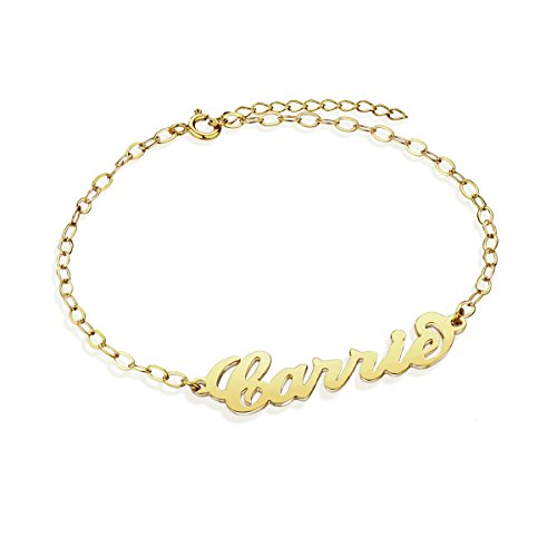 Sterling Silver Anklet Bracelet for Ladies 18K Gold Custom Made with Any Names Personalized Gifts for Wedding (Golden)