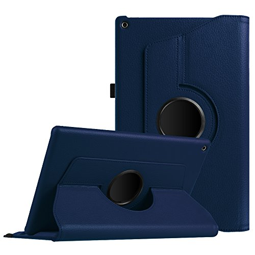 Fintie Rotating Case for All-New Amazon Fire HD 10 (7th Gen, 2017 Release) - Premium PU Leather 360 Degree Rotating Cover Swivel Stand with Auto Wake/Sleep for Fire HD 10.1 Inch Tablet, Navy