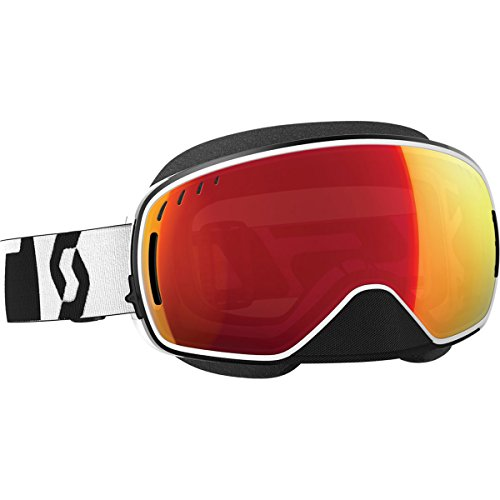 Scott LCG Adult Snocross Snowmobile Goggles Eyewear - Black/White Chrome/Clear Lens / One Size by SCOTT
