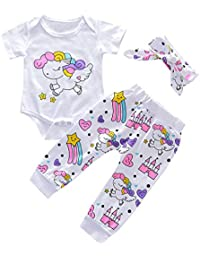 c7bb7727f631 Baby Girl Boy Clothes Set Cartoon Rainbow Printed Romper Top  +Pants+Headband Outfits