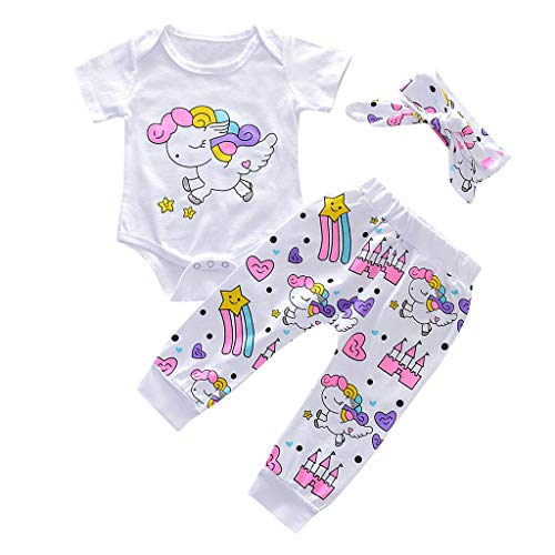 Baby Girls Boys Toddler Infant Summer Clothes Set Rainbow Horse Printed Romper+Floral Pants+Bow Headband Outfits (White, 18-24Months)