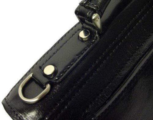 Alberto Bellucci Mens Italian Leather Comano Double Compartment Messenger Satchel Bag in Black by Alberto Bellucci (Image #3)
