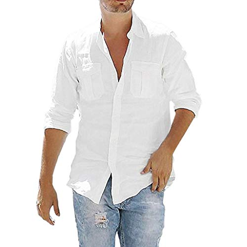 Mens Baggy Cotton Linen Pocket Solid Long Sleeve Retro T Shirts Button Down Tops White